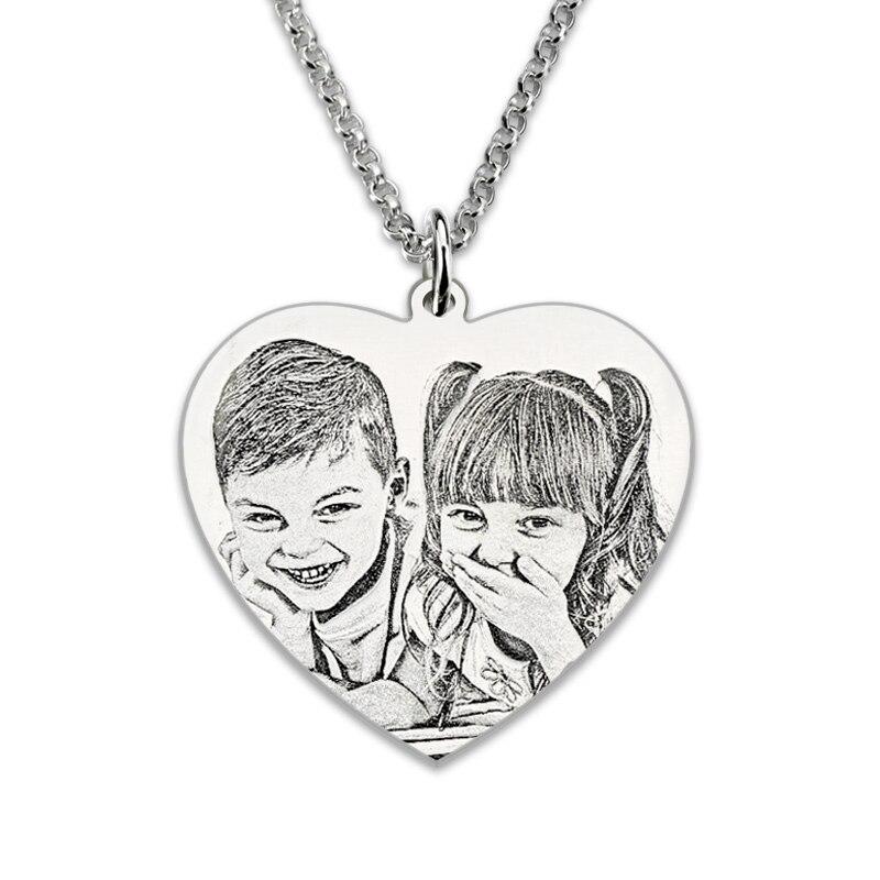 Femmes chaîne personnalisé Photo gravée argent 925 Collier avec lettre arrière gravure coeur pendentif Photo mémoire colliers Collier
