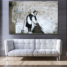 Banksy Sweep It Under The Carpet Canvas Painting Classical Art Poster Living Room Home Decor Modern Wall Picture