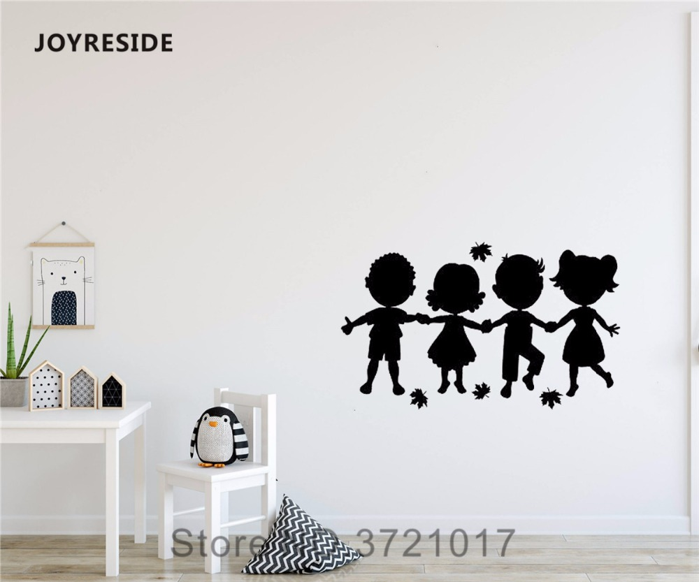 JOYRESIDE Cute Little Kids Silhouettes Holding Hands Wall Design Decal Vinyl Sticker Decor Girl Boy Bedroom Play Room Mural A406