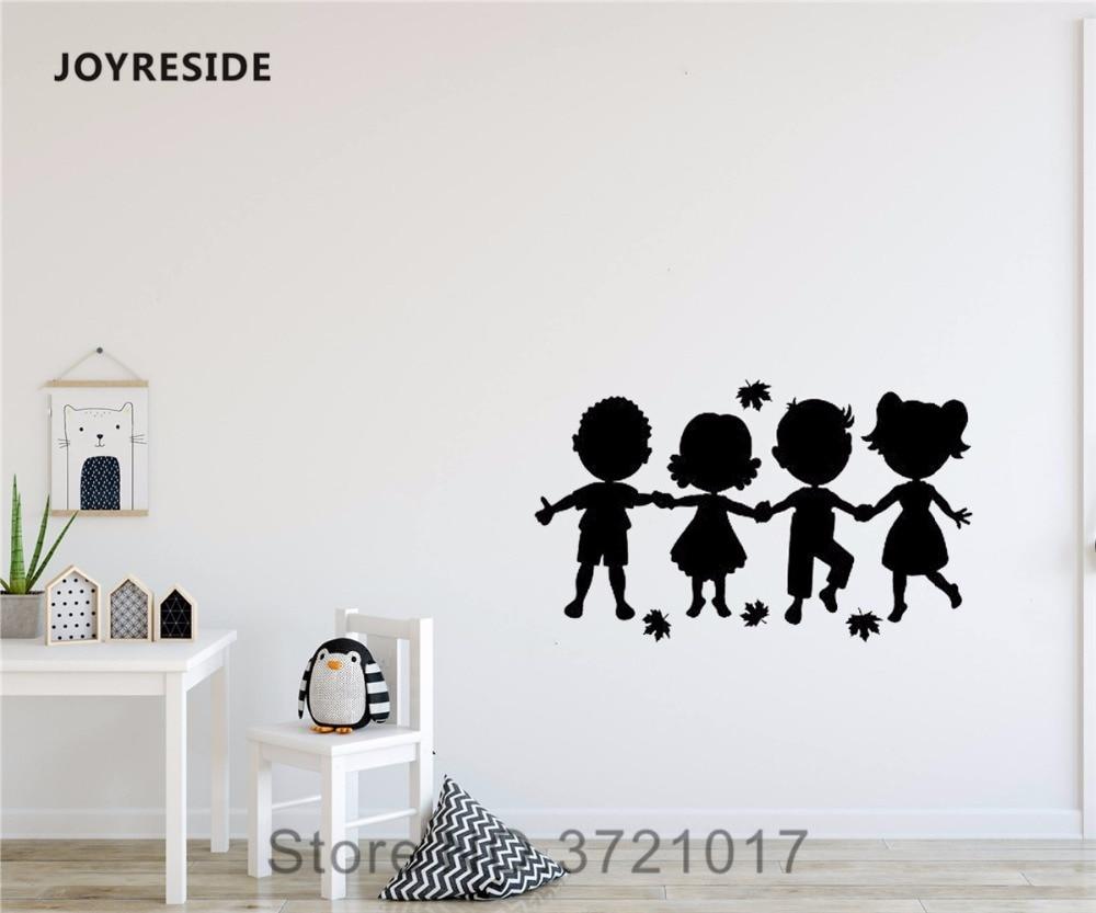 US $5 17 OFF Joyreside Anak Anak Kecil Yang Lucu Siluet Memegang Tangan Desain Dinding Stiker Vinil Stiker Dekorasi Gadis Anak Laki Laki Kamar