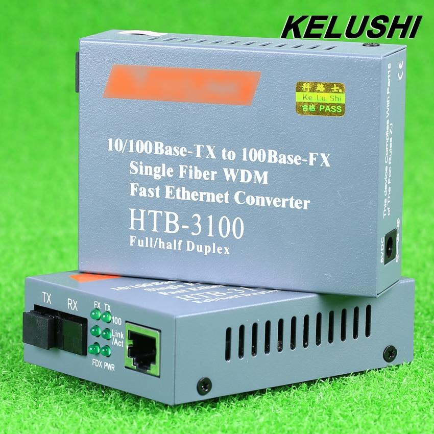 KELUSHI 1Pair HTB 3100AB Fiber Optical Media Converter 10 100Mbps RJ45 Single Mode SC Port 25KM