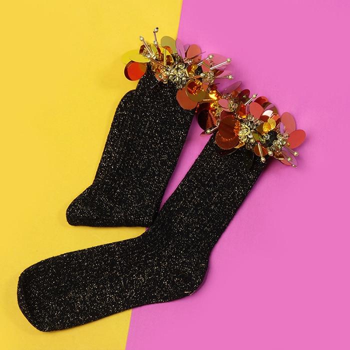Funny Socks Pug Sale Sokken Women Socks Shorts Original Sequins Three dimensional Flower And Bright Vertical Stripes Female