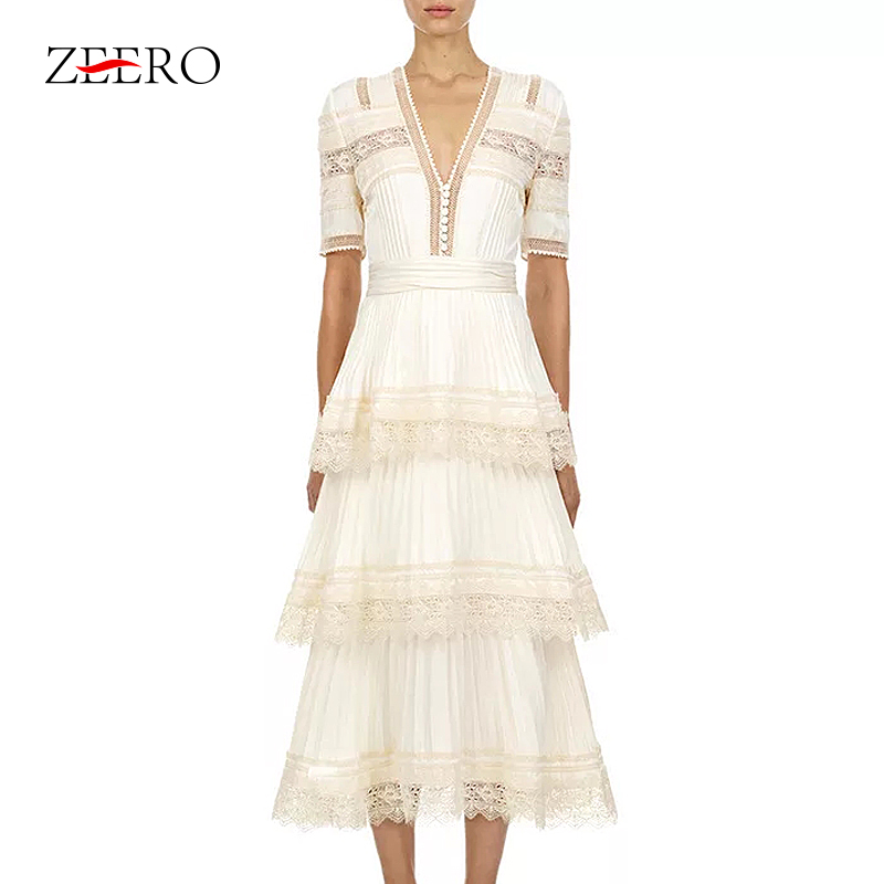 Cascading Ruffle Women Dress 2019 New Fashion Short Sleeve Lace Hook Ruffle Patchwork High Quality White