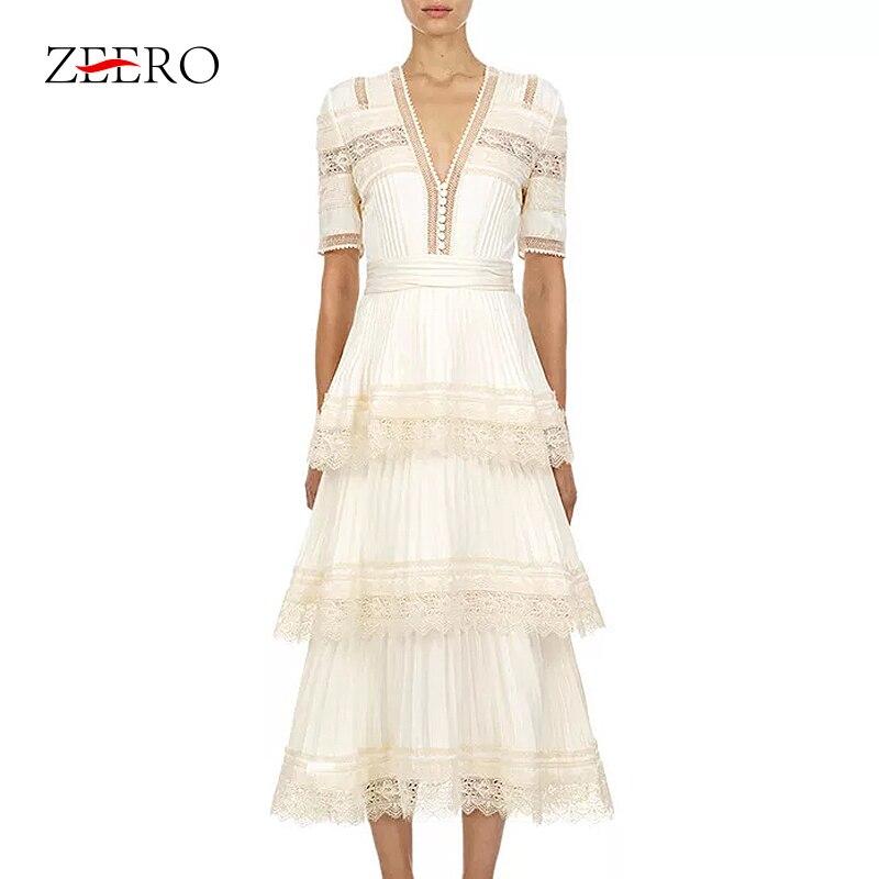 Kaskadowe wzburzyć kobiety ubierają 2019 nowych moda z krótkim rękawem hak koronki wzburzyć Patchwork wysokiej jakości biały Maxi długa letnia sukienka w Suknie od Odzież damska na AliExpress - 11.11_Double 11Singles' Day 1