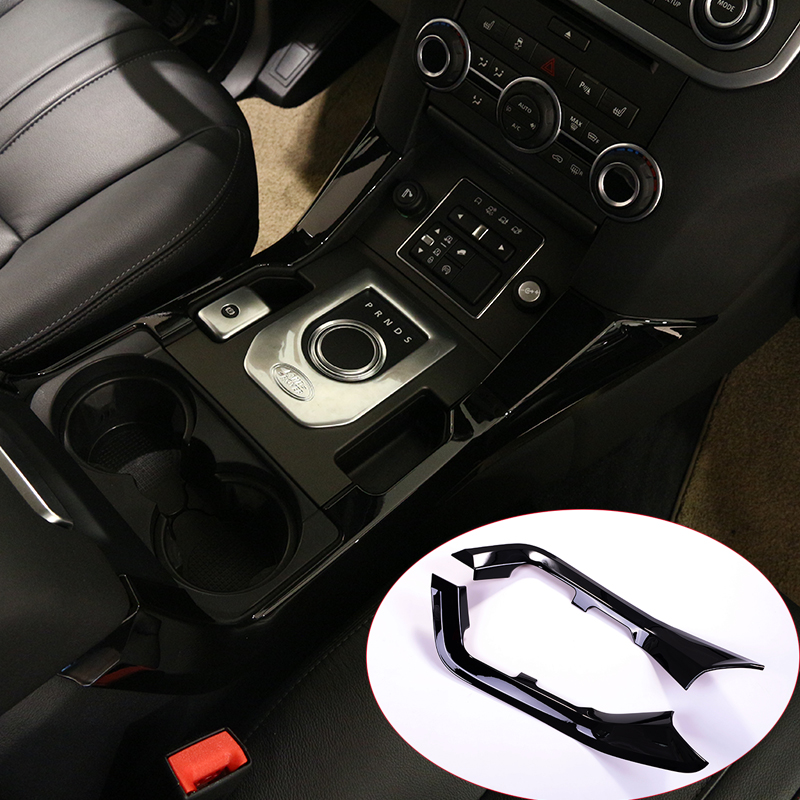 For Land rover Discovery 4 LR4 2010-2016 Car-Styling ABS Gloss Black Center Console Decoration Strips Trim 2pcs for land rover discovery 4 lr4 accessories abs dark wood grain center console ac outlet cover trim sticker for lhd 2pcs set