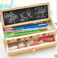 New Style Super Lovely Wood DIY Big Size Pencil Box Case Free Shipping