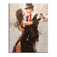 Hand painted Sex Lady and Handsome Boy Dancing Knife Oil Painting on Canvas Wall Artwork Home Decor Handmade Abstract Painting