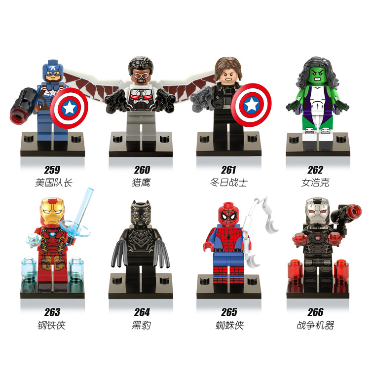 Black panther super heroes legoing marvel Captain America Building Blocks Toys for children Spiderman Iron Man for legoing single sale super heroes thor spiderman captain america batman hawkeye bricks action building blocks toys for children xh 004