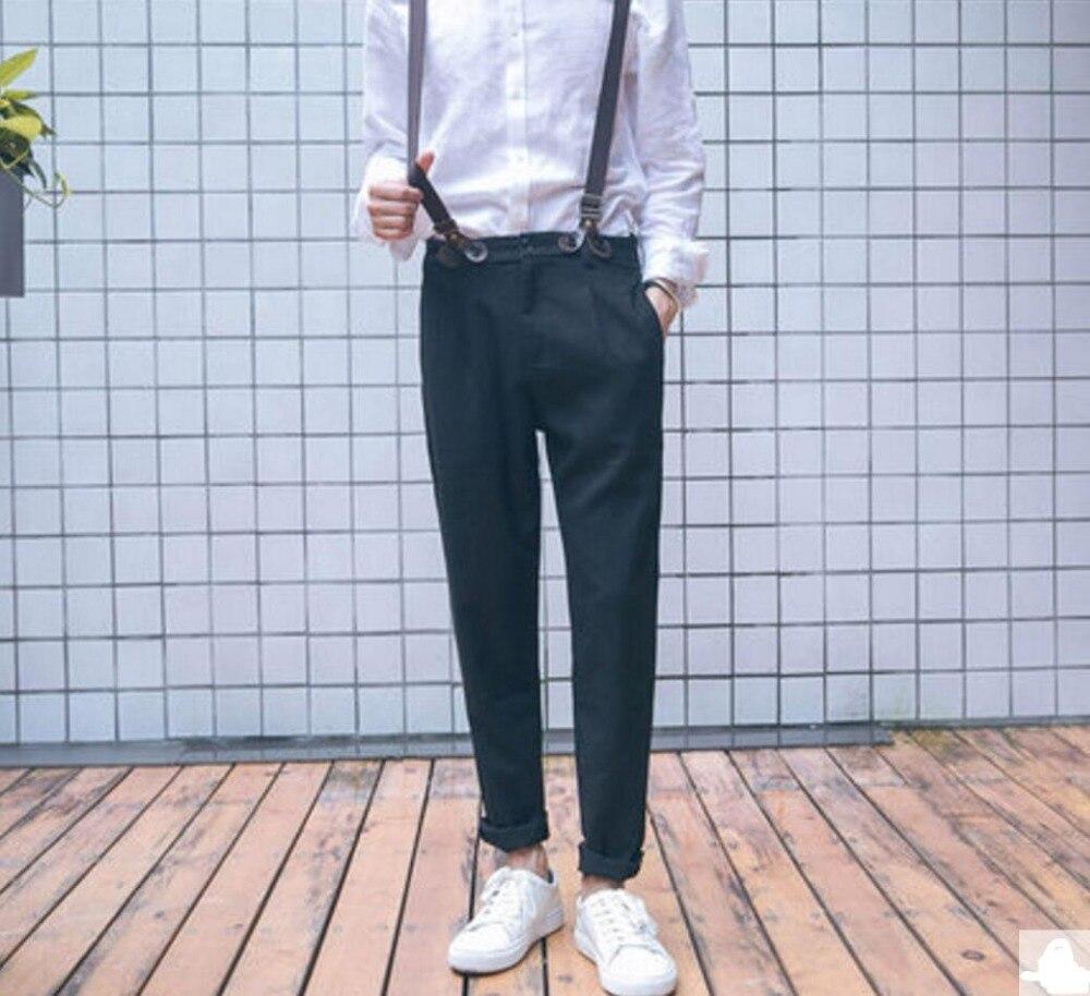 Automne nouveau style Hommes de pantalon occasionnel pantalon de bretelle de costume pantalon pantalon maigre pantalon mâle salopette avec bretelles Amovibles!
