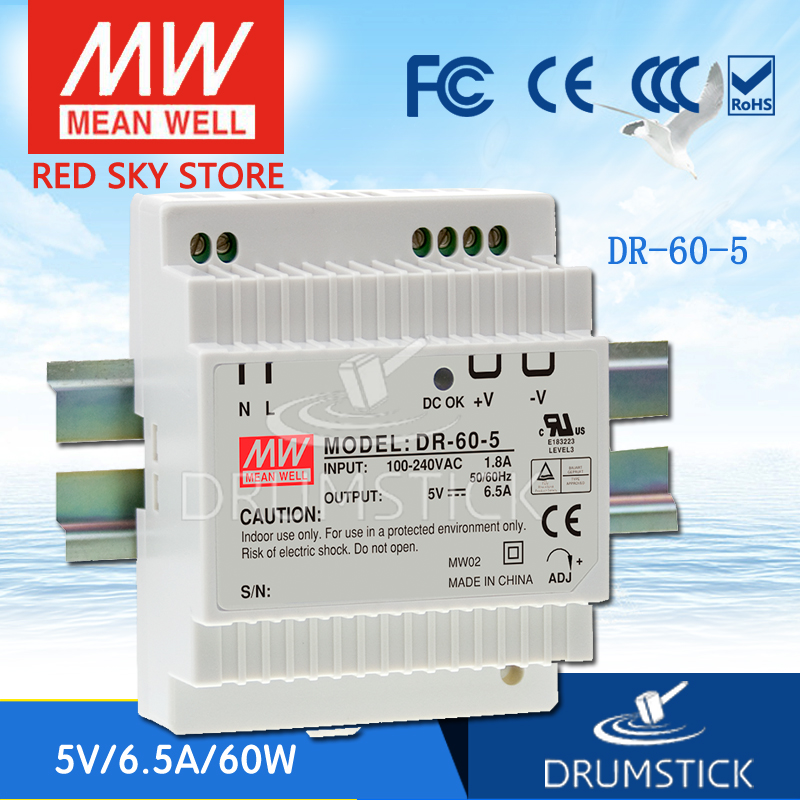 цена на Selling Hot MEAN WELL DR-60-5 5V 6.5A meanwell DR-60 32.5W Single Output Industrial DIN Rail Power Supply