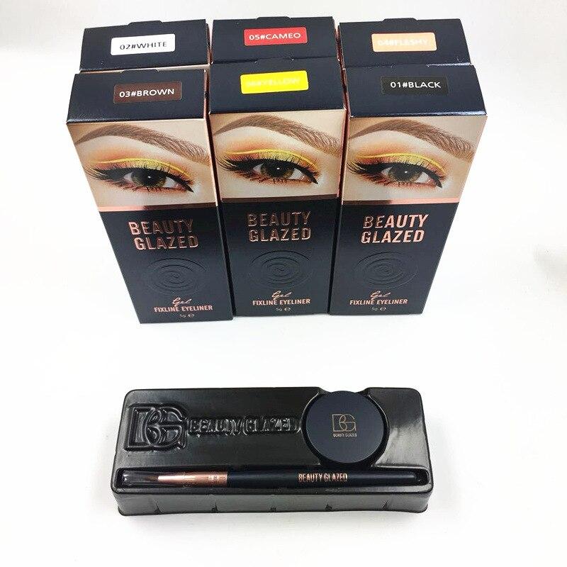 BEAUTY GLAZED Black White Yellow Waterproof Eyeliner Gel Makeup Cosmetic Gel Eye Liner With Brush 24 Hours Long lasting For Wome in Eyeliner from Beauty Health