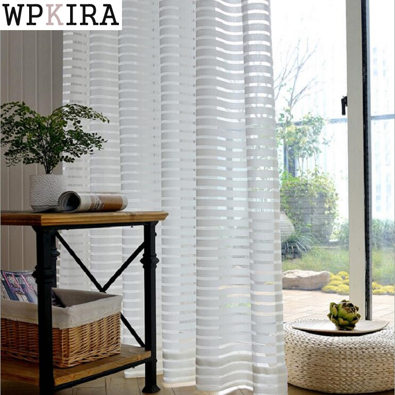 Modern Striped Window Tulle Curtains for Living Room White Voile Sheer Curtains for Bedroom Kids Cortina Blind Custom 135&30|curtains for|tulle curtains|curtains for living room - title=