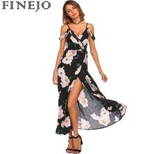 купить FINEJO Women's Dress Lace Cold Shoulder Ruffles Floral Print Maxi Wrap Split Front Backless Casual Party Roupas Femininas по цене 397.3 рублей