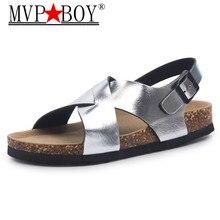 MVP BOY Men Sandals 2019 Fashion Men Flats Sandals Summer Beach Shoes Lover Shoes Open Toe Slides Cork Sandals Plus Size 35-43 недорого