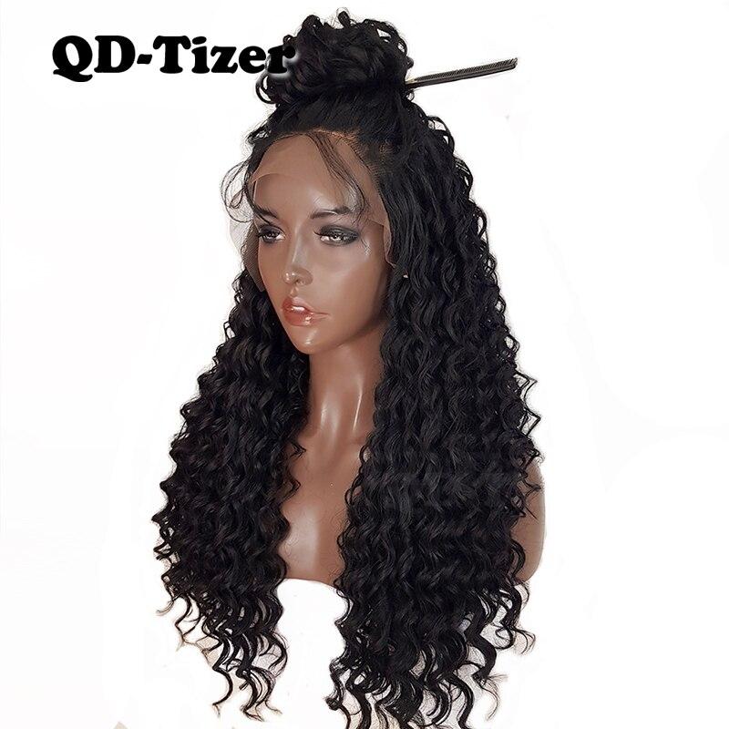 КТ-тизер 180% курчавый парик бесклеевого длинный парик синтетические Синтетические волосы на кружеве парики локон черный волосы младенца те...