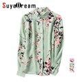 Women Silk Blouse 100% REAL SILK chiffon Vintage Floral print long sleeve blouse shirt Blusas femininas 2017 Spring