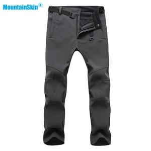 Image 2 - Mountainskin New Mens Winter Softshell Fleece Pants Outdoor Waterproof Hiking Camping Trekking Skiing Male Sport Trousers MA152