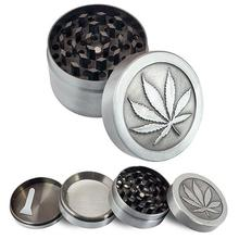 4 Layers Zinc Alloy Tobacco Crusher Hand Muller Leaf Pattern Smoke Herb Grinder with Scrap