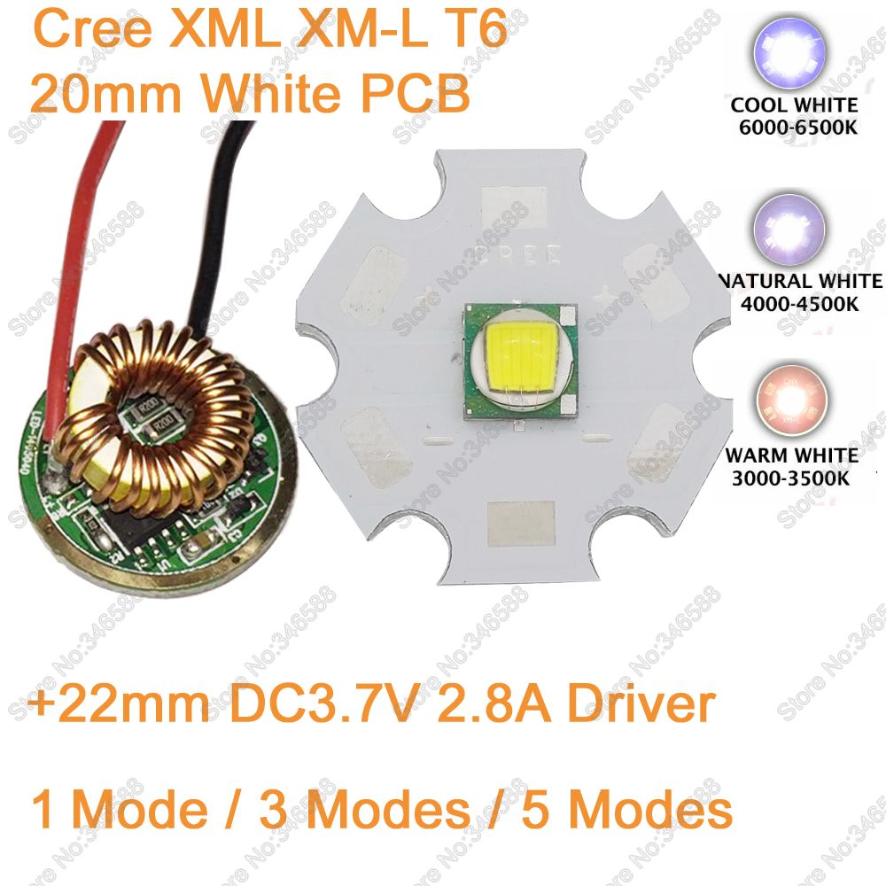 Home original cree xm l2 xml2 led emitter lamp light cold white - 12v Input 22mm Led Driver Cree Xml Xm L T6 10w Cool White Neutral