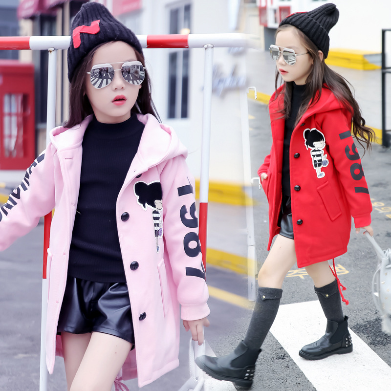 Image 3 - Girls Clothes Autumn and Winter 2019 New Children Fashion Cartoon Thick Warm and Medium Long Woolen Coat Jackets 4 12 YearJackets & Coats   -