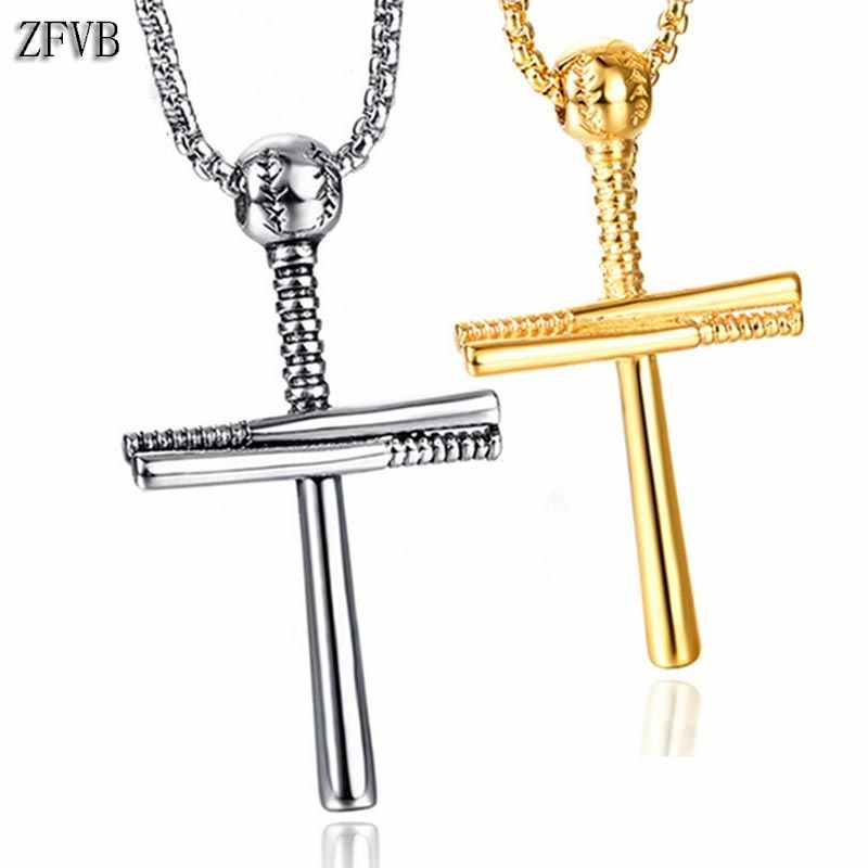 ZFVB Sporty Baseball Necklaces Pendant Jewelry Stainless Steel Classic Gold Silver Color Cross Pendant Necklace Bijoux Gifts