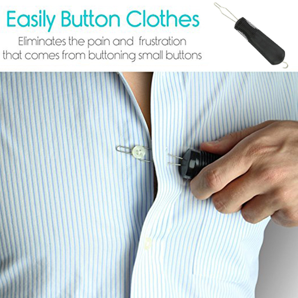 Lovely Adult Elderly Vive Button Hook Zipper Pull Dressing Aid Helper Wire Loop Tool For Arthritis Patients Self-assisst &c Harmonious Colors Synthetic None-lacewigs