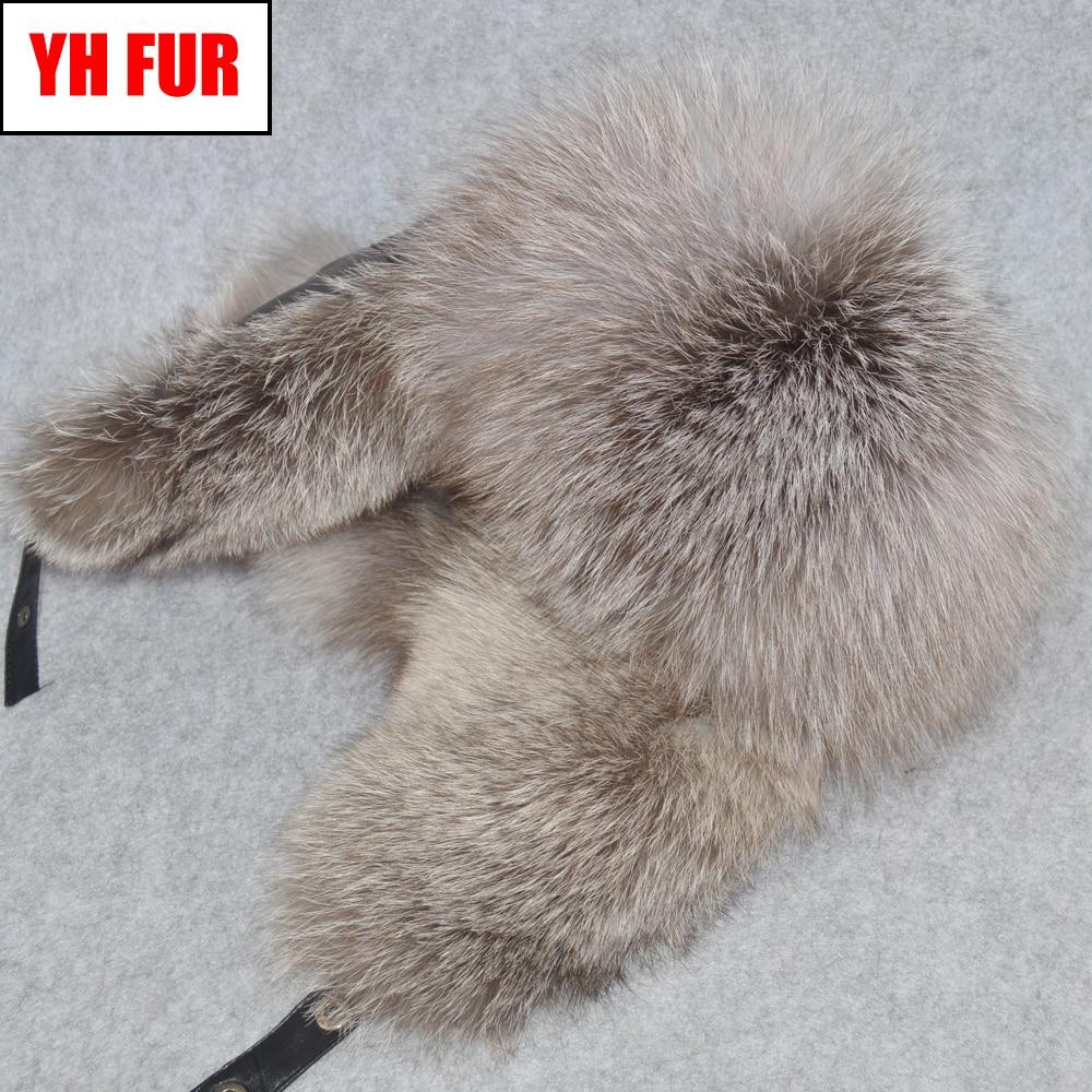 Bomber-Hat Russia Winter Hats Fox-Fur-Cap Sheepkin Real Genuine Warm Men Fluffy Soft