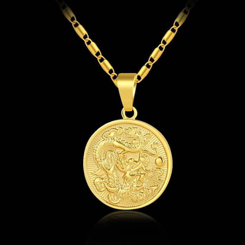 Fashion delicate auspicious Dragon Pendant necklace for women/men gold color Mascot Ornaments Lucky Jewelry Gifts Bijoux