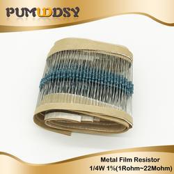 100 шт 1/4 W Металлические пленочные резисторы 1R ~ 22 м 100R 220R 330R 1 K 1,5 K 2,2 K 3,3 K 4,7 K 10 K 22 K 47 K 100 K 100 220 330 1K5 2K2 3K3 4K7 ом