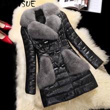 AYUNSUE, зимняя куртка из искусственной кожи, женская шуба из искусственного лисьего меха, Женская хлопковая парка, женские куртки, Chaqueta Cuero Mujer KJ746