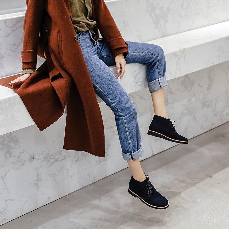 Donna-en bottines pour Femmes bottes de martin Véritable chaussures en cuir Plat décontracté Chaussons Femme 2019 Printemps à lacets grande taille Dames - 2