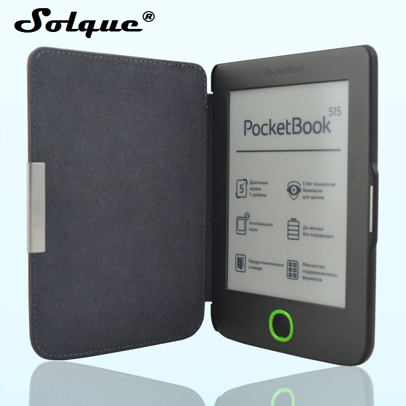 купить Solque PU Leather eBook Case For Pocketbook 515 Mini Ultra Slim Magnet Flip Hard Shell Cover For Pocket Book 515 eReader Cases недорого