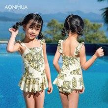AONIHUA Girls One Piece Swimsuit Fish Pattern Swimwear For Swim Wear Beach Bathing Suit 2-12 Years Old