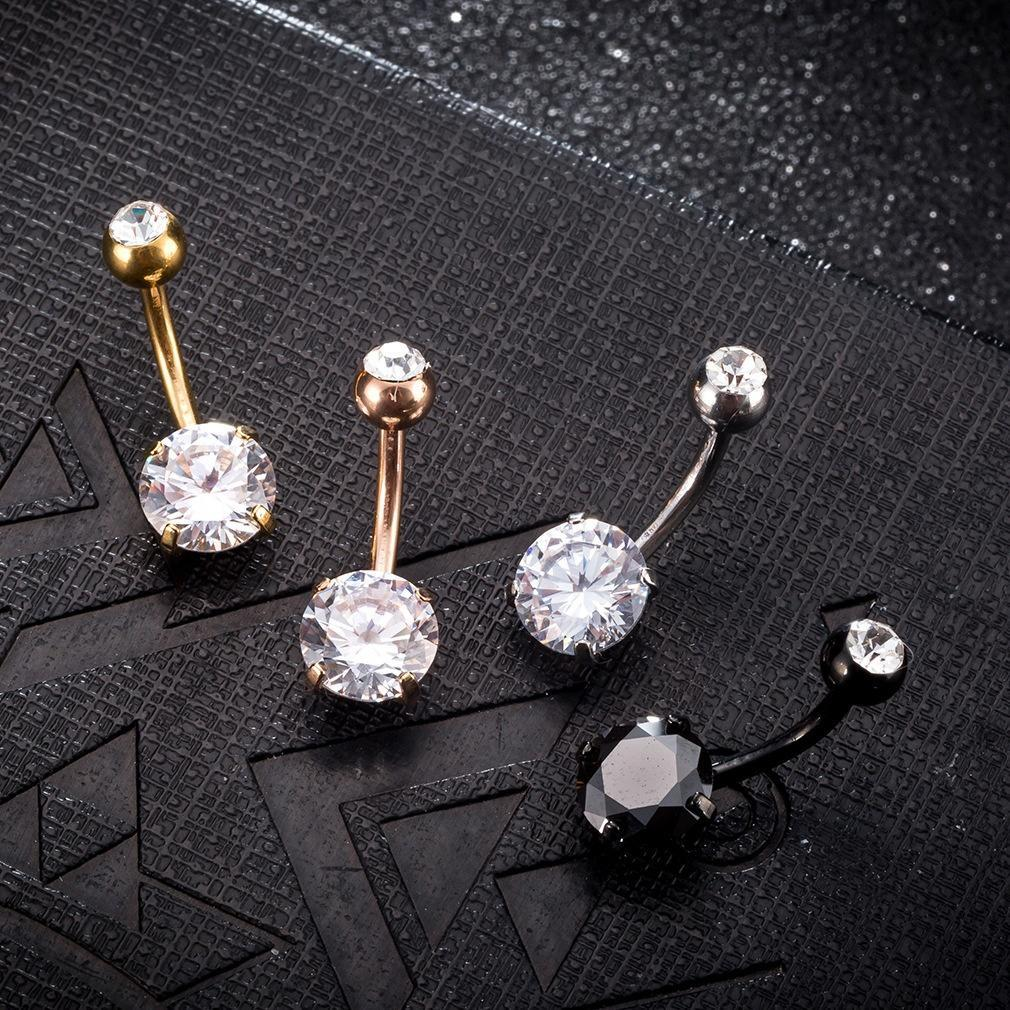 Belly-Button Jewelry Zircon Piercing Body-Ring Gold Navel Crystal Rhinestones Round Sexy