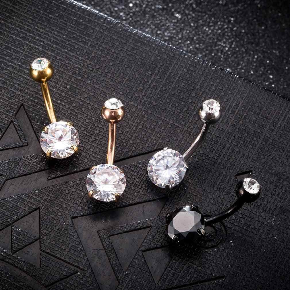 Sexy Women Gold Navel Piercing Belly Button Body Jewelry Crystal Zircon Rhinestones Round Body Ring Jewelry