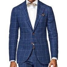 メンズワードローブの必需品スリムフィット窓ガラススーツテーラーメイドダークブルー窓ガラスチェック男性スーツ、エレガントなビジネススーツ