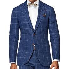 MenS חיוניים המלתחה Slim Fit שמשת חלון חליפת תפורים כהה כחול שמשת חלון לבדוק חליפות לגברים, חליפת עסקים אלגנטיים
