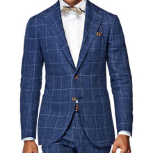 MenS Wardrobe Essentials Slim Fit Windowpane Suit Tailor Made Dark Blue Windowpane Check Suits For Men,Elegant Business Suit