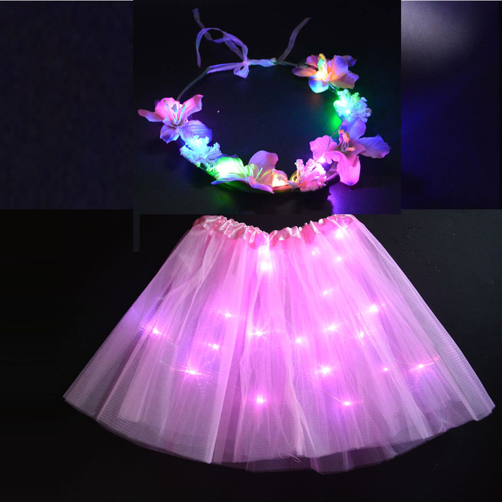 LED Party Light Up Wire Tutu with Glow Flower headbands Wreath Garland Fairy Girl Costume Stage Dancing Mini Skirt DecorationLED Party Light Up Wire Tutu with Glow Flower headbands Wreath Garland Fairy Girl Costume Stage Dancing Mini Skirt Decoration