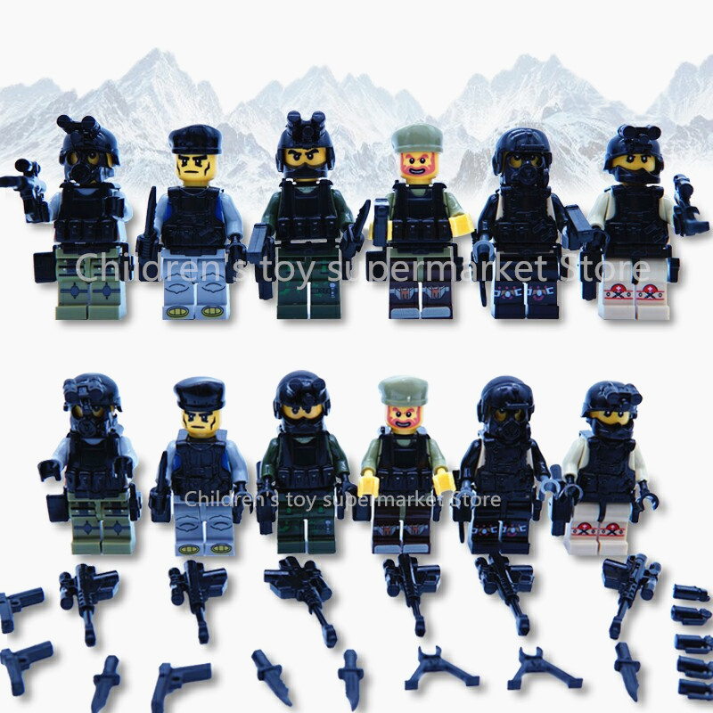 6 Pcs/ lot City Police Block Compatible with Legoe Swat Army Minifigures Military Soldiers Weapons Gun Swat team Figure Bricks