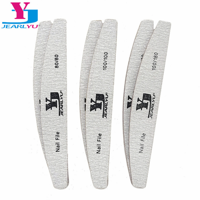 50pcs/lot Grey Nail Files Sanding For Nail Art Tips 80/100/180 Grit Washable Buffing Brand Sandpaper Block Manicura Pedicure New