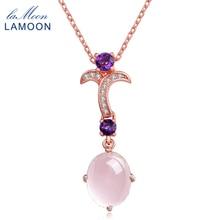 Uring-Flor 8x10mm 100% Piedra Natural oval rosa cuarzo cadena collar plata 925 joyería LMNI013