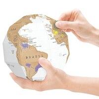 Творческий скретч Глобусы 3D DIY Вертикальной стерео мира Географические карты путешествие в подарок исследовать мир украшения дома Desktop Укр...