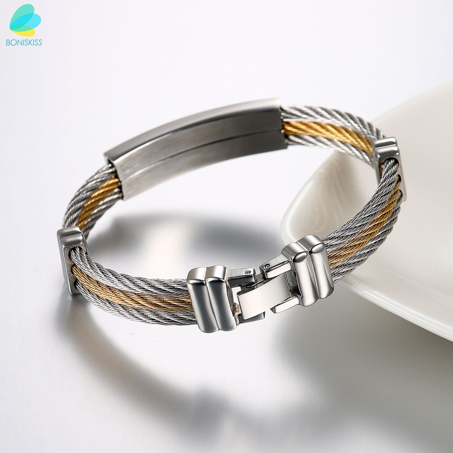 BONISKISS Men\'S Silver Gold One 3 Twisted Cable Bangle Bracelet With ...