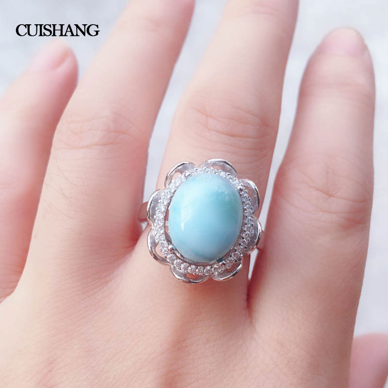 CSJ Natural blue Larimar sterling 925 silver rings Fine Jewelry women and lady Wedding Engagement Party