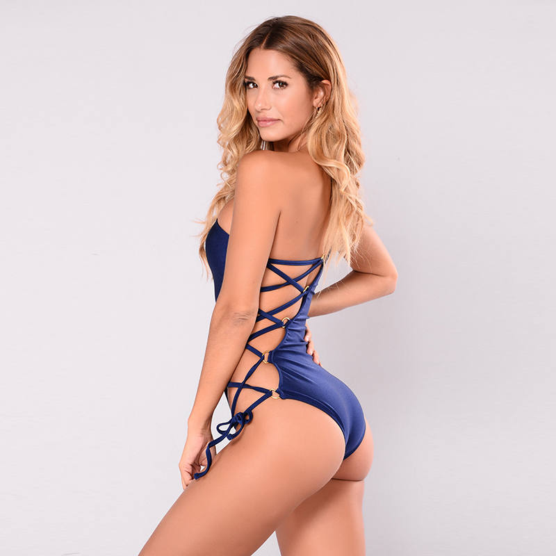 One Shoulder Cut Out Swimwear 2018 Adjust Waist Swim Bathing Suit High Quality Sexy Bandage Women One Piece Swimsuit Plus Size