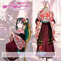 LoveLive! Taisho Fancy Kimono Awakening Nico Yazawa Cosplay Costume Halloween Dress Kimono+Waistband+Headwears