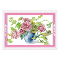 Joy sunday crossstitch diy 로맨틱 꽃 장미 꽃병 dmc14ct11ctcottonfabric 거실 호텔 홈 그림 공장 도매