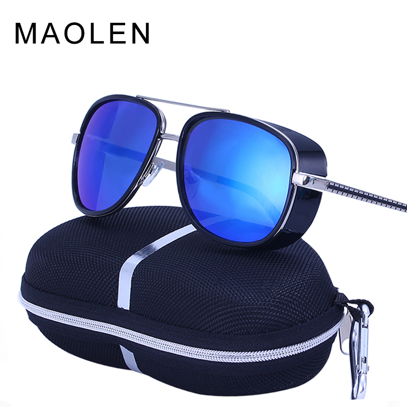 MAOLEN Tony Stark Iron Man Sunglasses Men Luxury Brand Eyewear Mirror Punk Sun Glasses Vintage Male Sunglasses Steampunk Oculos