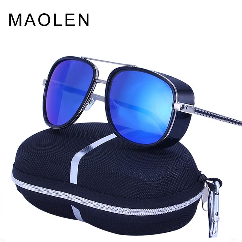 MAOLEN Tony Stark Iron Man Sunglasses Men Luxury Brand Eyewear Mirror Punk Sun Glasses Vintage Male Sunglasses Steampunk Oculos